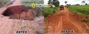 TRAFEGABILIDADE LIBERADA!! Secretaria de Obras conserta bueiro danificado na linha 601