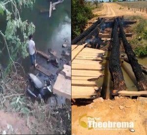 Theobroma: Condutor de Honda/Biz cai de Ponte queimada na Linha 605