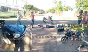 Colisão entre carro e moto deixa mulher lesionada em Theobroma