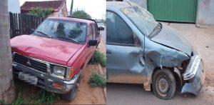 Caminhonete S10 bate em veículos estacionados e foge em Jaru